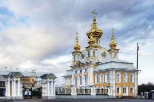 Entrance gates to the Grand Palace, Peterhof, Russia 2012