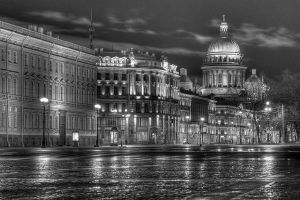 Early Morning Cityscape B&W, St Petersburg, Russia 2012